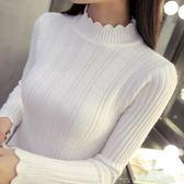 針織衫 修身女長袖內搭純色短款套頭秋冬半高領加厚毛衣