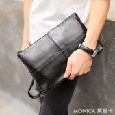 簡單時尚韓版男士手拿包 皮質時尚信封包 iPad平板包單肩斜背包潮 美斯特精品