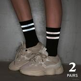 2條裝 反光條紋長筒襪子女潮街頭中筒襪薄款純棉男運動【毒家貨源】