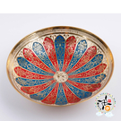 印度彩繪小銅盤/直徑14.5 公分【 十方佛教文物】
