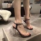 透明高跟一字帶涼鞋女2021年新款夏百搭水晶粗跟時裝涼鞋女仙女風【快速出貨】