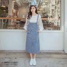 丹寧多口袋吊帶裙(S-L)-藍 蘋果星沙