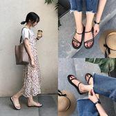 韓風簡約一字帶涼鞋女2018夏季新款圓頭細帶平底涼鞋女露趾羅馬鞋