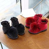 秋冬新款兒童保暖棉鞋女童加絨毛毛鞋中大童軟底鞋子女孩童鞋亞斯藍