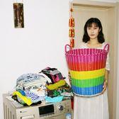 髒衣籃髒衣服收納筐籃粗管塑膠藤編髒衣簍洗衣籃收納籃箱編織WY【八五折免運直出】