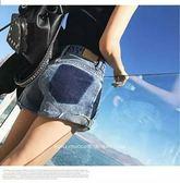 牛仔短褲 200斤牛仔褲寬松褲子胖mm熱褲短褲大碼高腰哈倫褲加肥加大631-116 巴黎春天