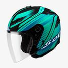 【東門城】SOL SO-1 創(消光黑/藍綠) 半罩安全帽 可拆式下巴