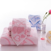 毛巾三件套含浴巾+毛巾+方巾-純棉柔軟細膩心心相印舒適衛浴用品3色72t26【時尚巴黎】