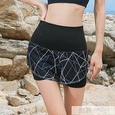 專業運動短褲女高腰彈力速幹跑步短褲假兩件瑜伽服短褲跑步健身褲  中秋特惠