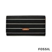 FOSSIL LOGAN 防潑水三折拉鍊RFID長夾-黑白愛心條紋 SL7832005
