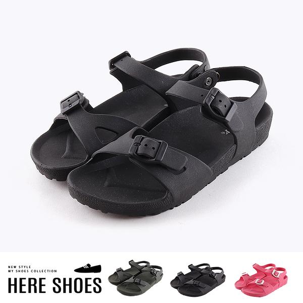 [Here Shoes]涼拖鞋-MIT台灣製 純色百搭 中性休閒款 平底一字涼鞋 後跟扣環 夏日海灘鞋─ANDW021