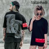 ToGetheR+【M20060】情侶款小丑印花色塊寬版圓領棉質短袖上衣