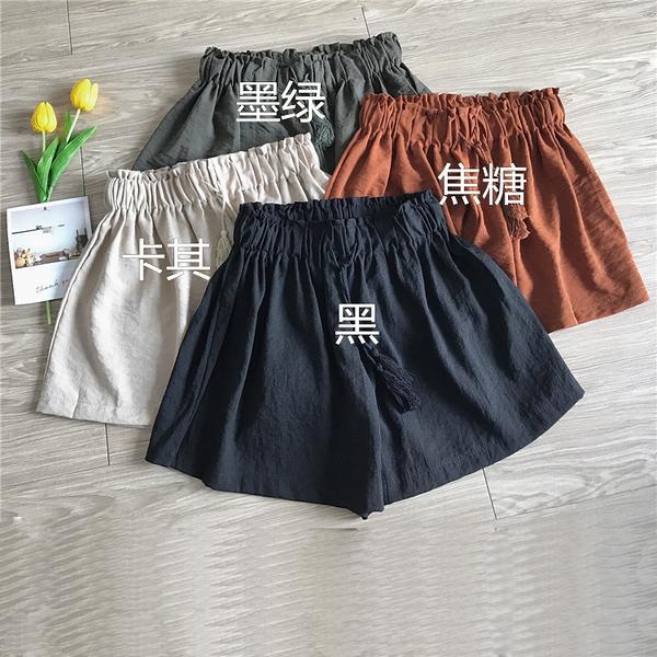 [超豐國際]夏季女裝寬松顯瘦松緊腰短褲女百搭純色休閑褲學生高1入
