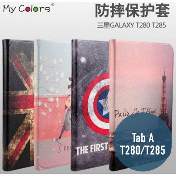 三星 Tab A T280 / T285 絲雅系列 彩繪卡通 側翻皮套 支架 平板套 平板皮套 皮套 平板殼