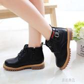 童鞋男童馬丁靴秋季新款兒童短靴英倫風單靴潮女童皮鞋加絨雪地棉    原本良品