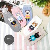 韓國襪子 【K0148】 可愛穿衣貓咪圖案短襪❤️正韓貨 短襪 韓妞必備 姊妹情侶  阿華有事嗎