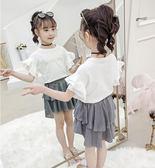 學院風女童套裝 2019新款 個性女童童裝 女童夏裝 中大童兒童荷葉邊袖灑金裙兩件套