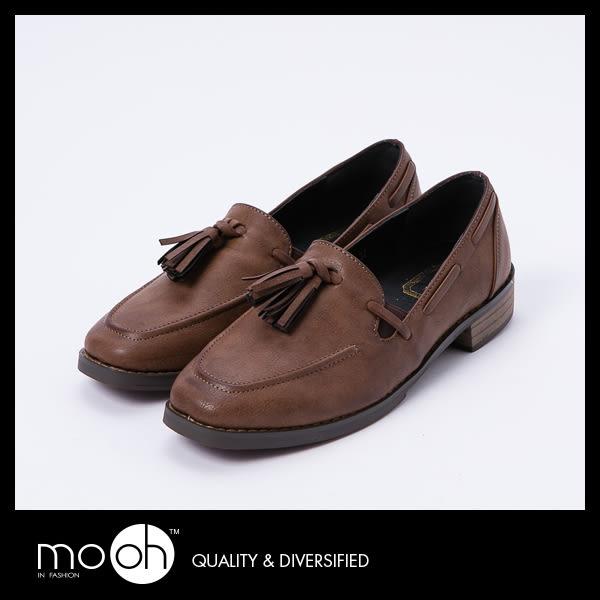 方頭流蘇鬆緊帶套腳復古樂福鞋 英倫擦色古著低跟皮鞋 mo.oh (歐美鞋款)