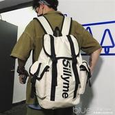 背包男士雙肩包潮牌休閒大容量大學生書包女ins時尚潮流旅行背包 深藏blue