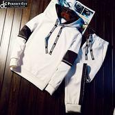 韓版潮流連帽緞帶款套裝(加大尺碼)連帽保暖上衣+送保暖內刷毛長褲《P5097 》
