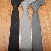 男士韓版窄格子小領帶復古 6cm正裝商務職業英倫真絲灰色羊毛領帶   初見居家