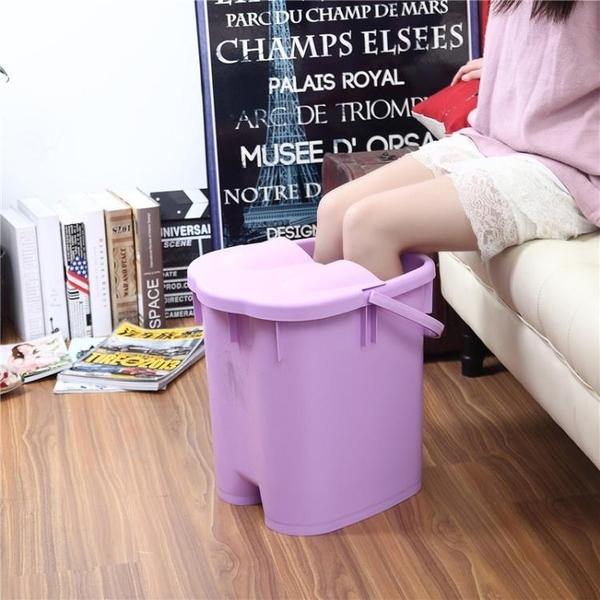 帶蓋加高加厚足浴桶 按摩保溫泡腳桶足浴盆 塑料手提洗腳桶洗腳盆