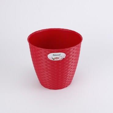 義大利Stefanplast 藤編紋圓盆 直徑24cm-野莓紅