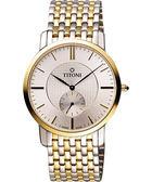TITONI Slenderline系列紳士風獨立小秒針腕錶-銀x雙色版/38mm TQ52917SY-380