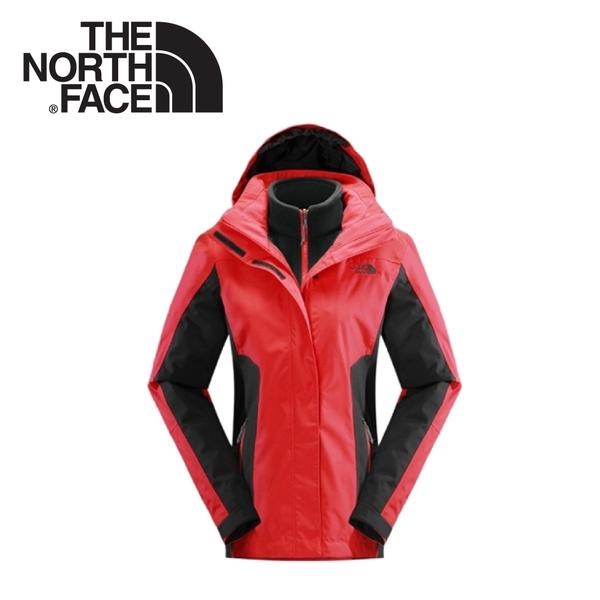 【The North Face 女 HV刷毛兩件式外套《瓜紅/瀝灰》】CUF2/保暖/戶外/運動/登山