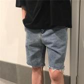 日系港風潮超火牛仔褲女學生毛邊五分褲直筒短褲毛邊潮熱褲男  蘑菇街小屋