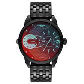 DIESEL 航行者二地時間個性時尚腕錶-黑x鍍膜鏡面