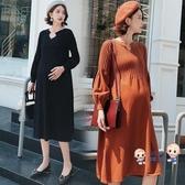 孕婦洋裝 秋冬季連身裙中長款針織長裙子女打底衫孕婦秋裝毛衣寬鬆韓版 6色
