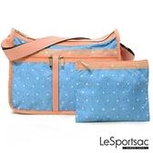 【南紡購物中心】LeSportsac - Standard 雙口袋A4大書包-附化妝包(牛仔點點) 7507P F678