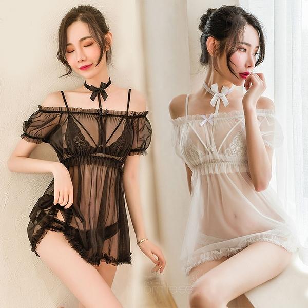 《FEE ET MOI》情趣睡衣!泡泡袖內搭頸環牽引比基尼四件式套裝 - 可小圓領或一字肩 E531673 E531672