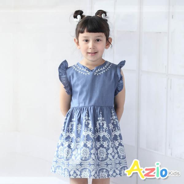 Azio 女童 洋裝  花朵圖騰仿蕾絲印花荷葉袖洋裝(藍)