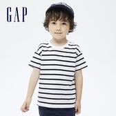 Gap男幼童 厚磅密織系列碳素軟磨 純棉短袖T恤 755301-藍白條紋