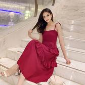 (工廠直銷不退換)8616#韓國連線細肩帶連身裙褂法式雪紡花邊露肩露背吊帶長裙G-515-A韓依戀