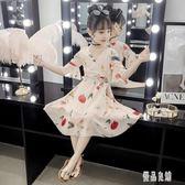 女童連身裙新款兒童夏季超洋氣童裝中大童公主裙名媛范氣質短袖雪紡洋裝2568