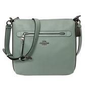 【COACH】經典馬車全皮革前拉鍊口袋斜背包(古瓷綠)