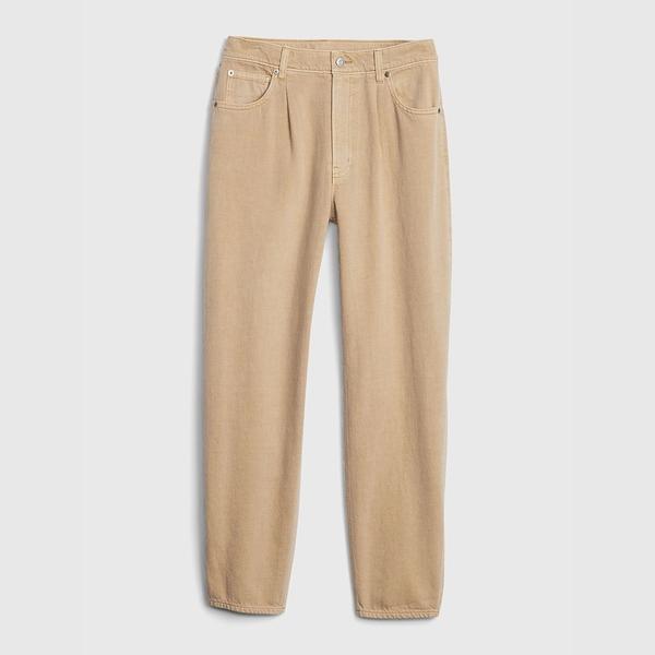 Gap女裝 時尚寬鬆款桶型褲高腰牛仔褲 600161-卡其色