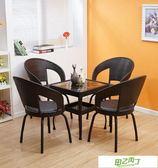 藤椅桌椅三件式陽台休閒桌椅組合藤椅子靠背椅客廳小方桌椅子茶几
