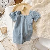 女童韓版網紅牛仔短袖連衣裙2020新款夏裝小童寶寶洋氣泡泡袖裙子 幸福第一站