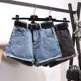 牛仔短褲 高腰闊腿寬松顯瘦a字熱褲 631-116巴黎春天
