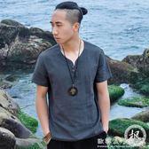 亞麻T恤男短袖中式棉麻復古休閒上衣修身V領半袖  歐韓流行館
