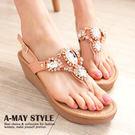 韓國時尚寶石水鑽楔型夾腳涼鞋【XW0699】 華麗耀眼鑽飾 修飾楔型款式