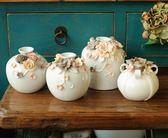 玫瑰花朵陶瓷家居裝飾擺件 美式插花花器 小花瓶  喜迎中秋 優惠兩天
