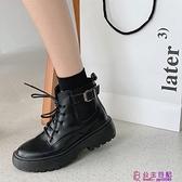 網美粗跟馬丁靴女春季新款短筒英倫風加絨鞋顯腳小黑色短靴超級品牌【公主日記】