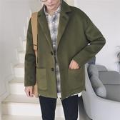 風衣男短款秋冬季毛呢大衣青年韓版寬鬆呢子外套帥氣加棉加厚衣服