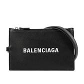 【BALENCIAGA】經典Logo牛皮卡片夾(附可拆式掛繩)(黑色) 616015 1IZI3 1090