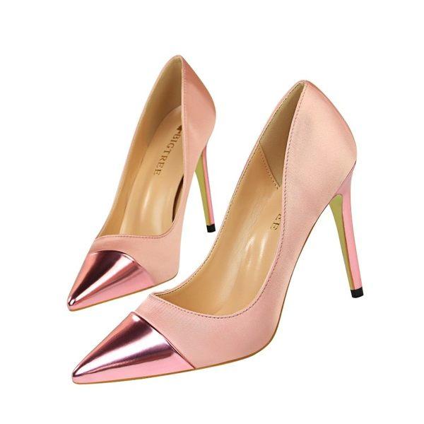 ☆PINKPOKO粉紅波可☆ 2019年春夏新款歐美風性感顯瘦綢拼接淺口尖頭絲高跟鞋8色